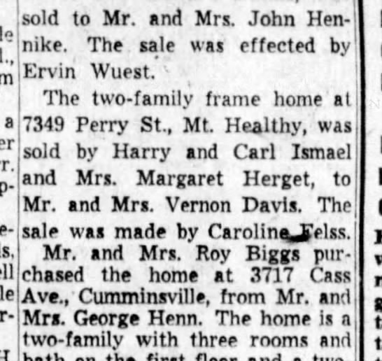 Uncle John bought house on Benne Rd, Withansville -