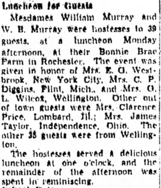 Bonnie Brae The Chronnicle-Telegram (Elyria, Ohio) 27 August 1947 p 9 -