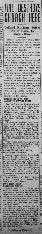 fire destroys North Oakland Baptist -