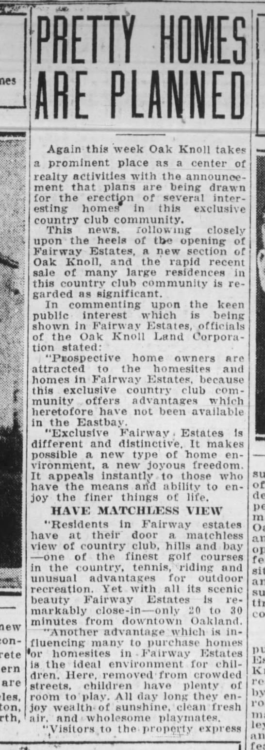 Pretty Homes Are Planned - Oakland Tribune October 13, 1929 Fairway Estates -