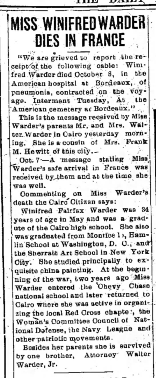 Winifred Warder dies in France (1918) -