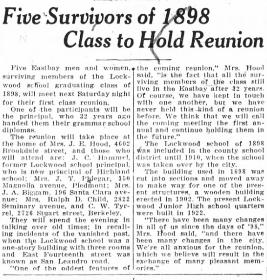 Five Survivors of 1898 hold Reunion Feb 15, 1932 -