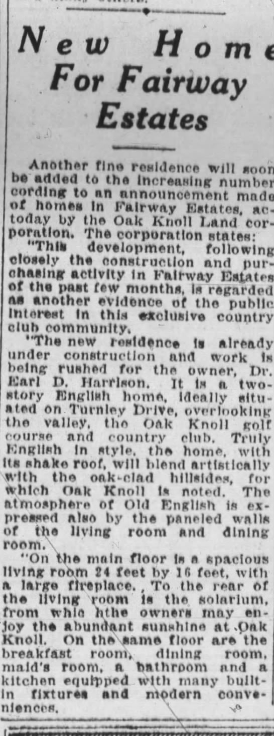 New Home For Fairway Estates - Oakland Tribune November 17, 1929 -