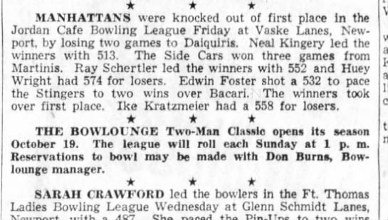 dad's bowling 10/8/1958 -