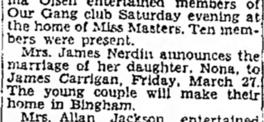April 5, 1931  James & Nona to marry -