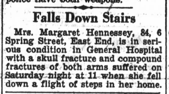 Margaret Hennessey falls down stairs on 18 March 1933. -