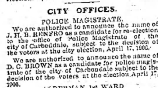 Police Magistrate April 16, 1906 -