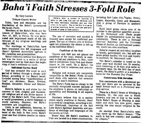 profile on Baha'i Faith as part of a series -