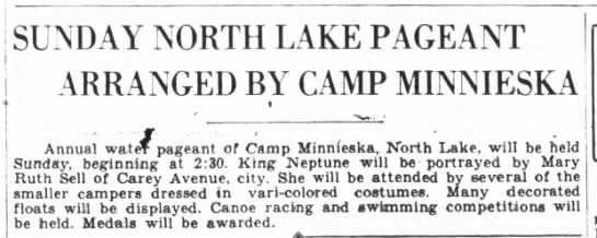 North Lake, Camp Minnieska events -