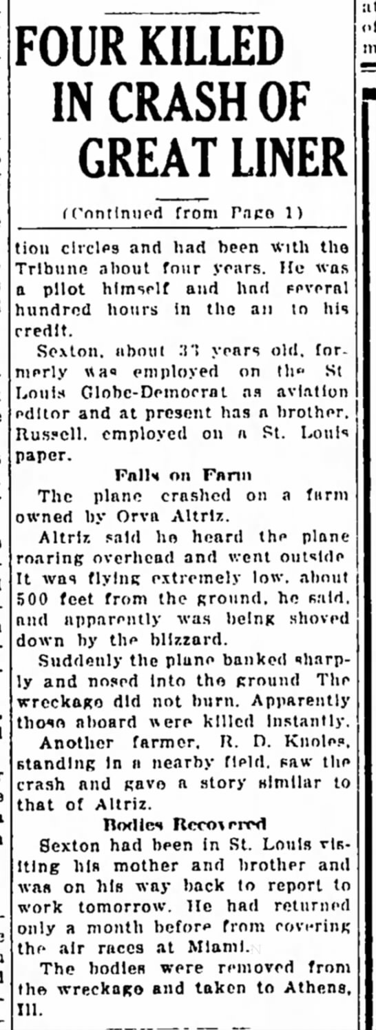 knoles Great Liner accident page 2 7 March 1934 -