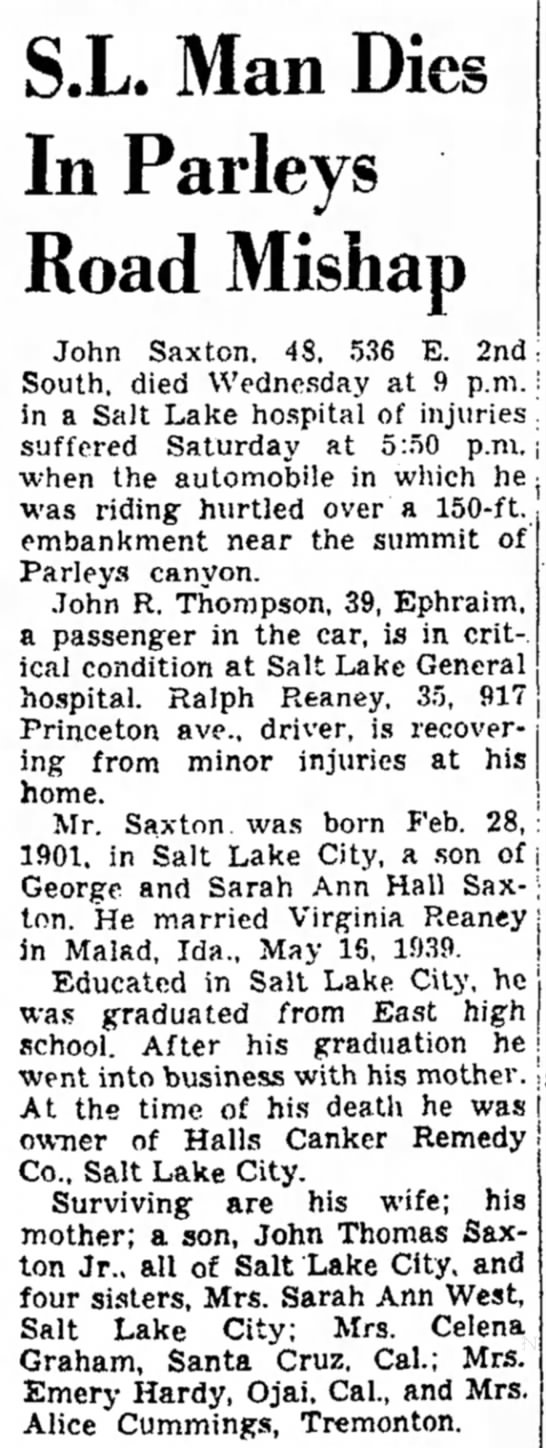 Obituary of John Saxton, 1901-1949 -