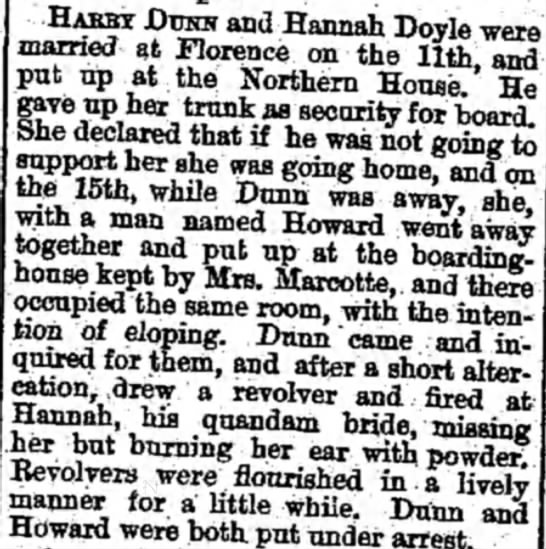 Four days of Marriage - from the Weekly Wisconsin 26-April-1882 Page 6 - HABBT DTJSN and Hannah Doyle were married at...