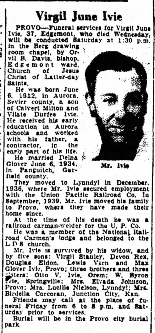 The Salt Lake Tribune (Salt Lake City, Utah) December 9 1949 page 42 (Virgil June Ive Obit) -