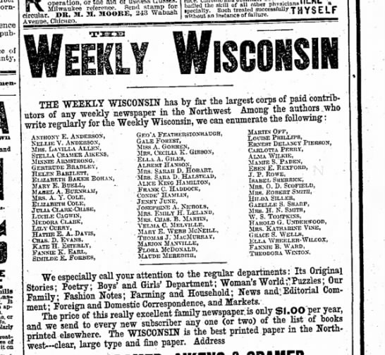 writers in weekly wisconsin oct 10 1885 -
