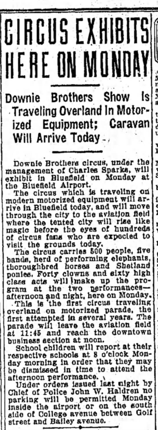 Sparks Article 5-3-1931 - CIRCUS EXHIBITS HERE ON MONDAY Downie Brothers...
