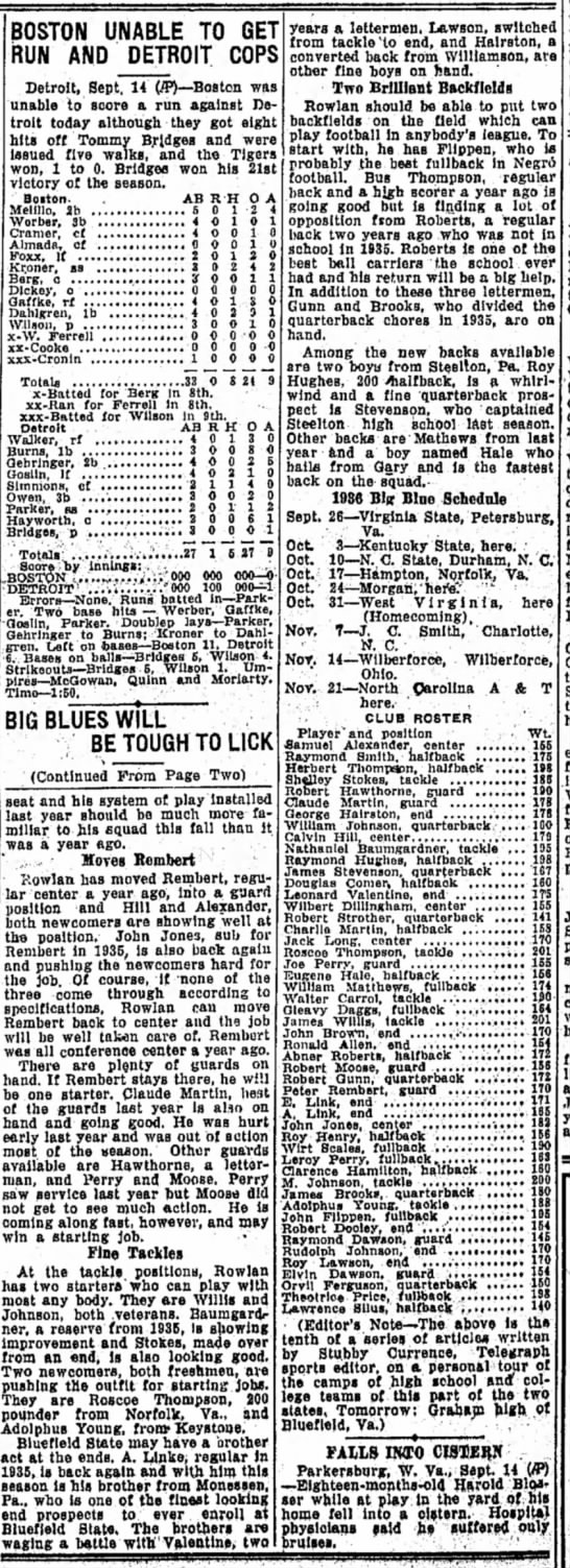 Sept 15 1936  Daddy plays for Bluefield -