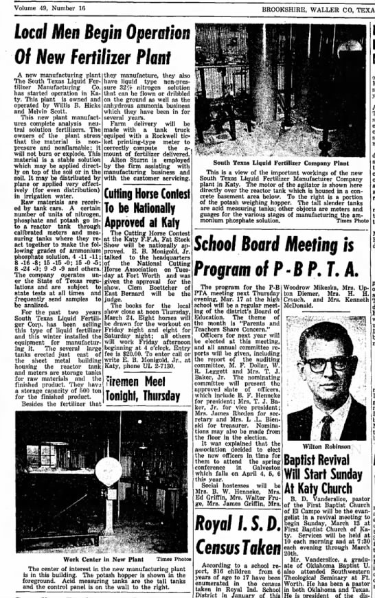 South Texas Liquid Fert Co, 10 Mar 1960, The Brookshire Times
