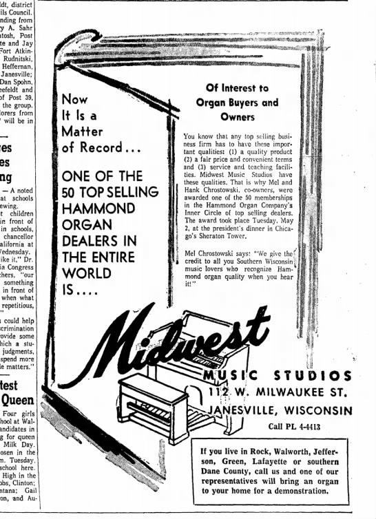 Midwest Music Ad for Hammond Organ - Newspapers com