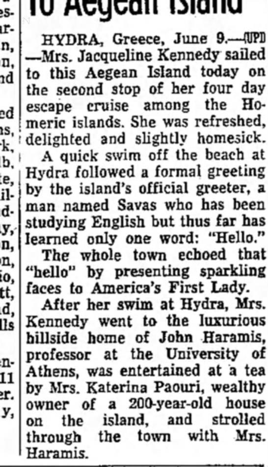 Hydra-Harmas-Kennedy - 11 HYDRA, Greece, June 9.—(UPD -Mrs. Jacqueline...