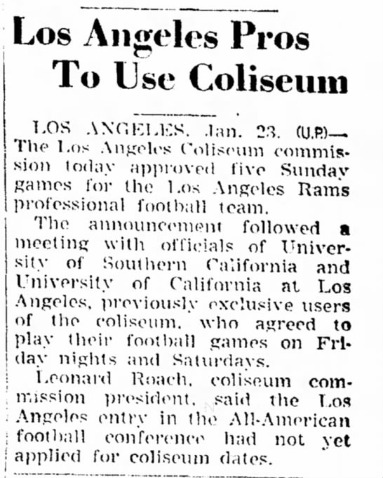 Los Angeles Rams to Use Los Angeles Coliseum for 5 Dates in 1946 Season -