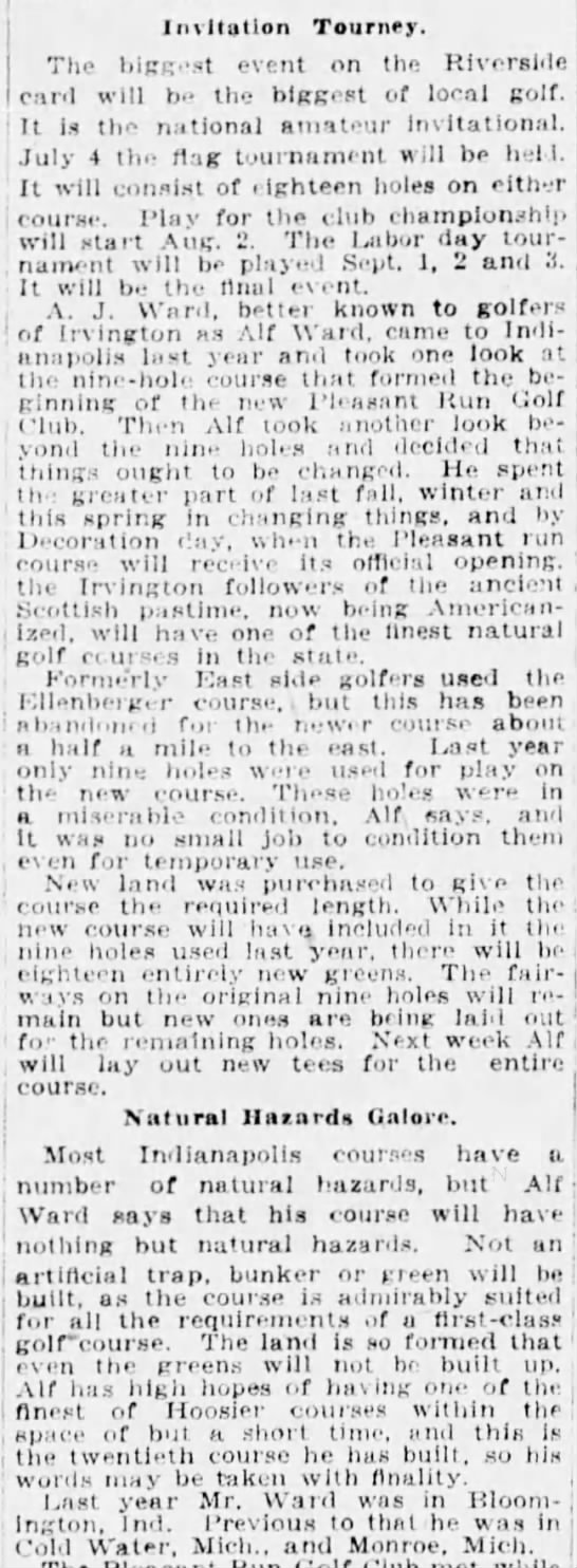 Alf Ward's 20th golf course built Indianapolis Star 9 Mar 1924 p32 c1-3 -