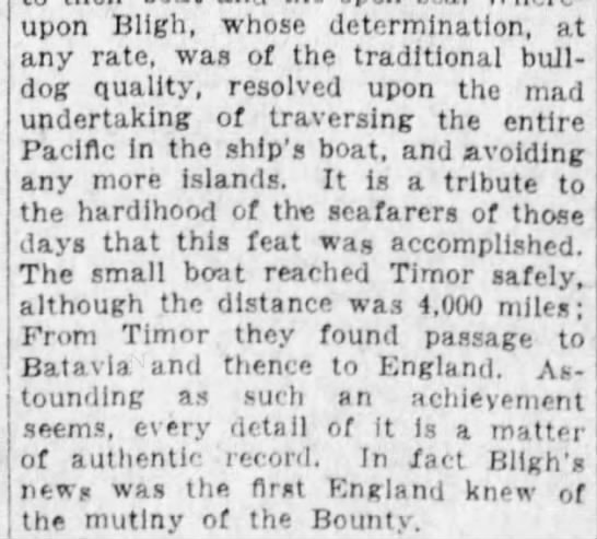 Bligh and his men make it back to England -