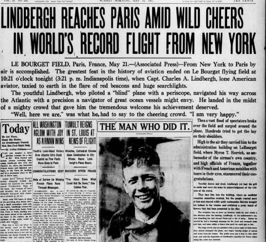 Lindbergh lands in Paris -