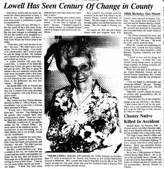 Thelma Lowell Has Seen Century of Change in County - Newspapers com