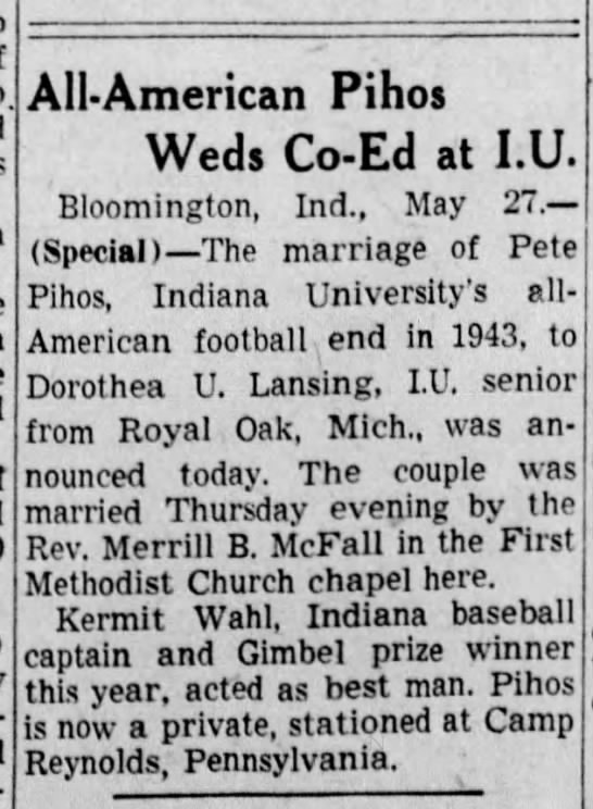 All-American Pihos Weds Co-Ed at I.U. -