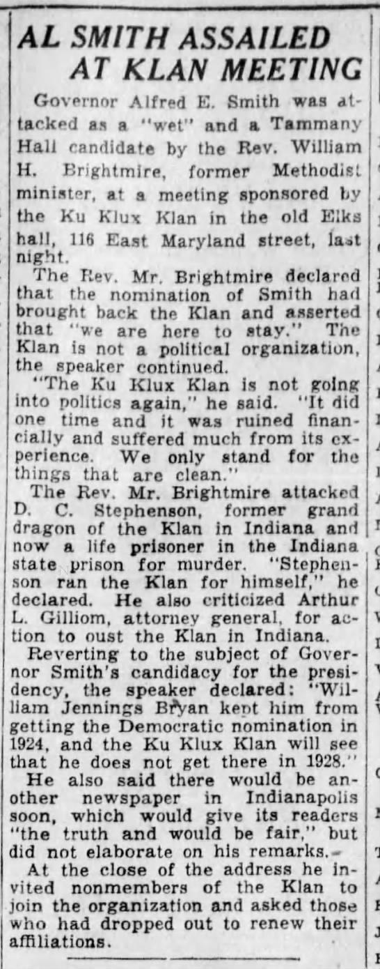 Al Smith Assailed at Klan Meeting -