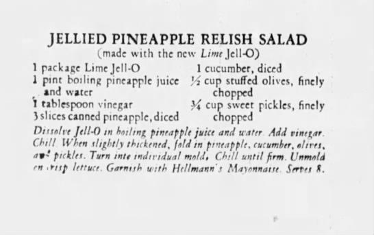 Jellied Pineapple Relish Salad recipe -