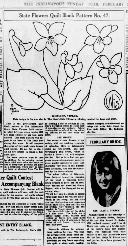 Ruby McKim Short State Flower Block - Wisconsin