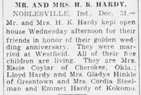 Mr and Mrs H.K. Hardy anniversary celebration -