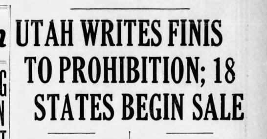 Utah ends prohibition for nation -