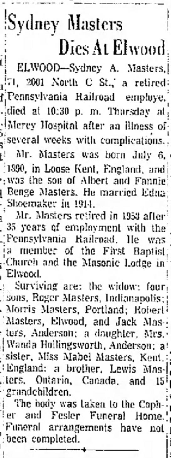 Great Grandpa Sydney Masters death notice -