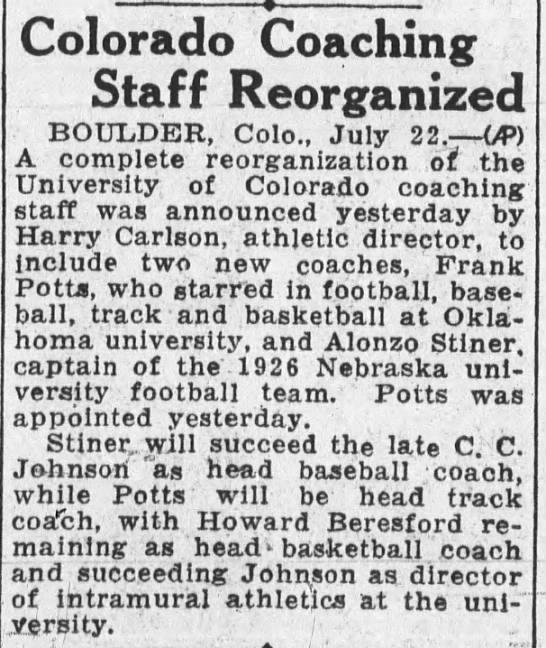 1927 Lon Stiner coaching job -