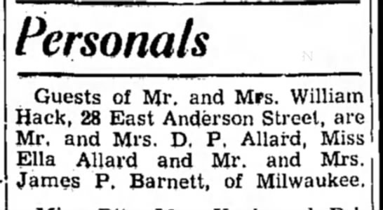 dp allard and ella allard -