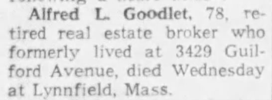 Alfred Goodlet death notice -