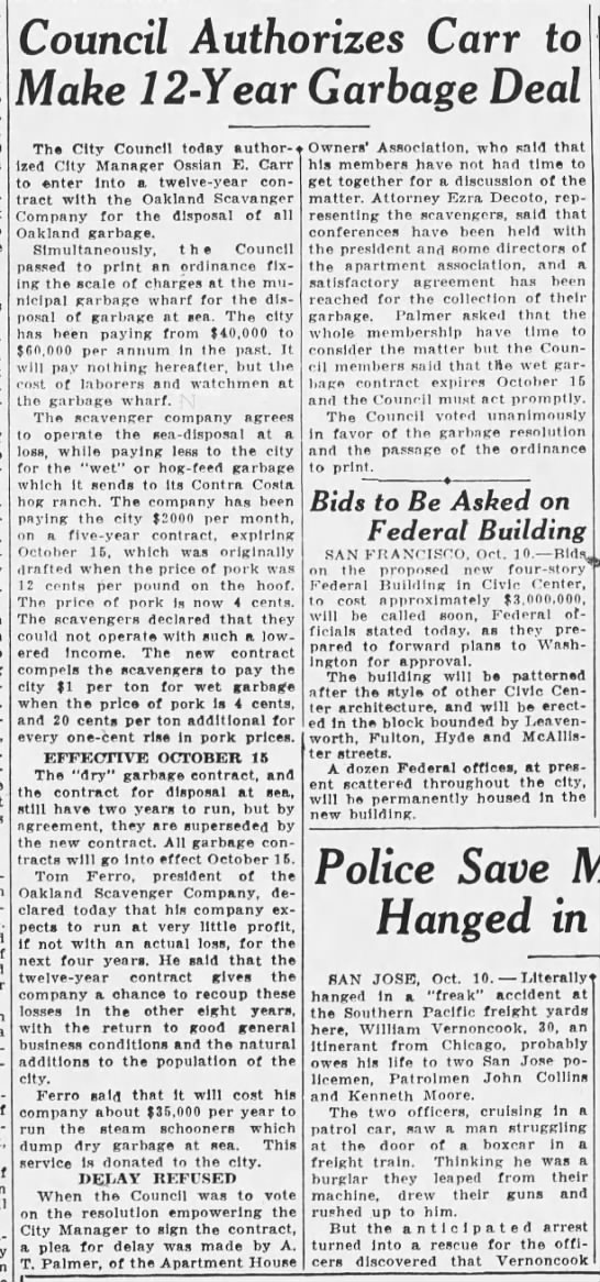 1932-10-10 Oak OKs 12-year contract with scavengers -