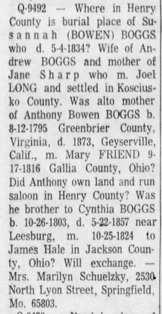 BOOGS_Susannah nee Bowen_query in TheIndianapolisStar_31 Oct 1971_pg 103 -