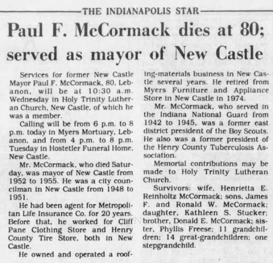 """Paul F. McCormack dies at 80; served as mayor of New Castle"" -"