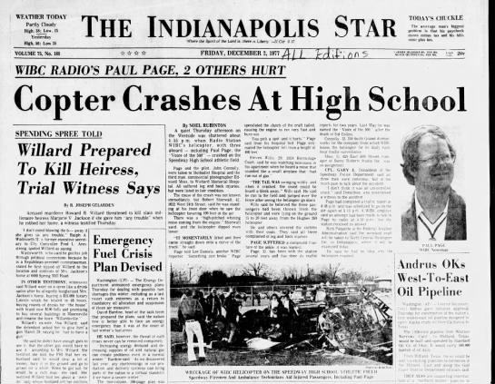 Wills, Steven, The Indianapolis Star, Indianapolis, IN, Dec 2 1977, Pg 1 -