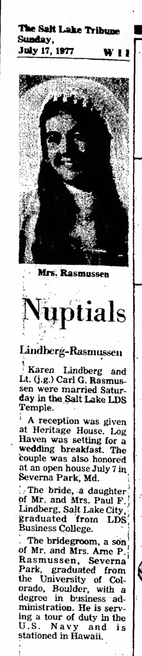 Karen Lindberg wedding announcement -