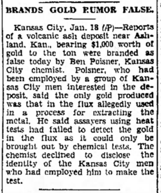 Story about Ben Poisner in his role as a chemist in 1934 -