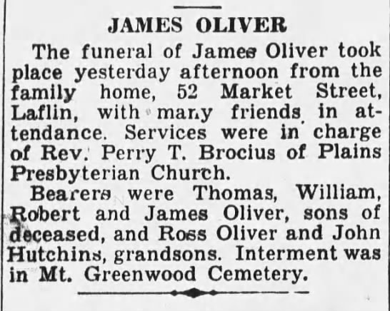 WB Record 11 Mar 1941 James Oliver obit -