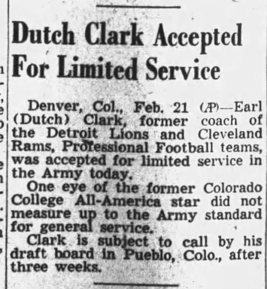 Dutch Clark Accepted For Limited Service -