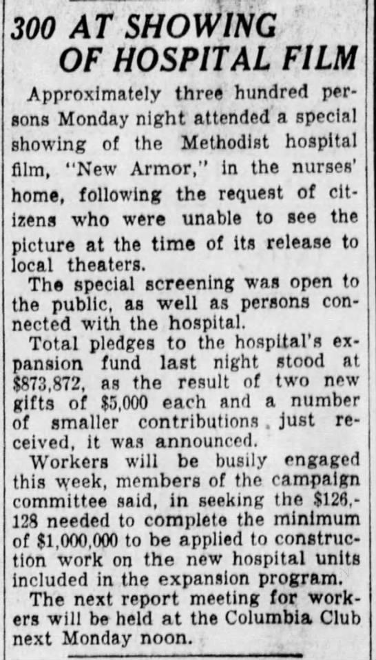 Indianapolis Star, 16 July 1929 Methodist Hospital Film