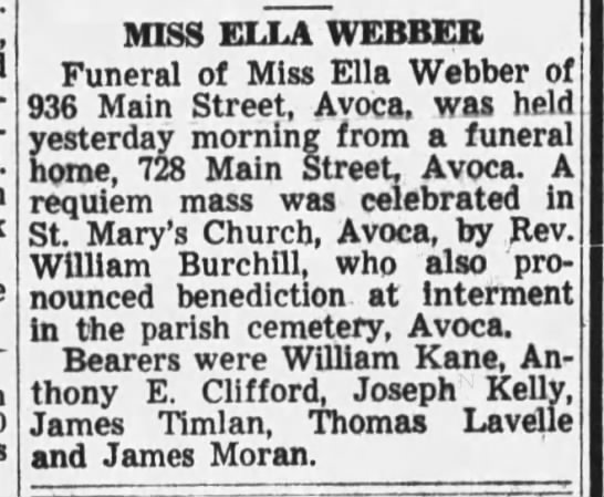 Funeral for Ella Webber, buried in St Mary's Avoca