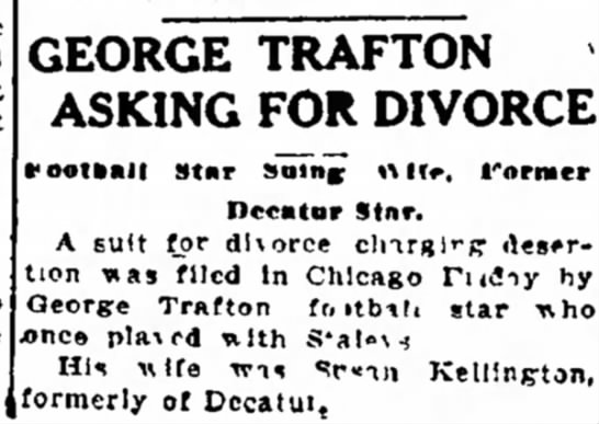 George Trafton Asking for Divorce -