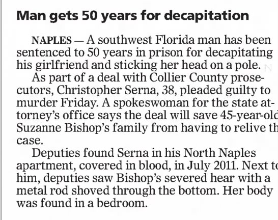 - Man gets 50 years for decapitation NAPLES—...